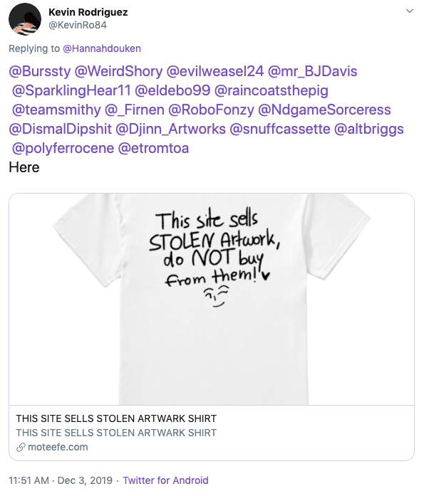 How Artists On Twitter Tricked Spammy T Shirt Stores Into Admitting Their Automated Art Theft Waxy Org Last song used in this video by co.ag music. twitter tricked spammy t shirt stores